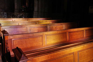 Church pews in Uppsala, Sweden