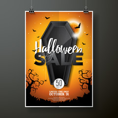 Halloween Sale vector illustration with coffin and Holiday elements on wood texture background. Design for offer, coupon, banner, voucher or promotional poster