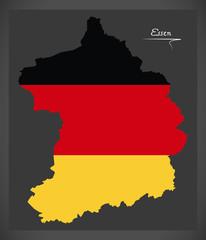 Essen map with German national flag illustration