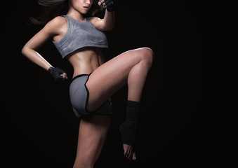 athletic woman body and workout - 3d render