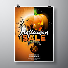 Halloween Sale vector illustration with pumpkin, moon, cemetery and bats on orange sky background. Design for offer, coupon, banner, voucher or promotional poster