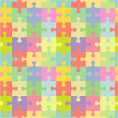 Seamless (you see 4 tiles) jigsaw puzzle pattern (print, background, wallpaper, swatch) of pastel colors classic style pieces
