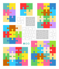 Jigsaw puzzles 2x2, 2x3, 3x3, 3x4 and 4x4 blank templates (cutting guidelines) and colorful patterns of trendy colors