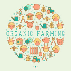 Organic farming concept in circle with thin line icons of animals, tools and symbols for eco products, farming flyers and banners. Agriculture vector illustration for web page, print media.