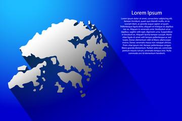 Abstract map of Hong Kong with long shadow on blue background of vector illustration