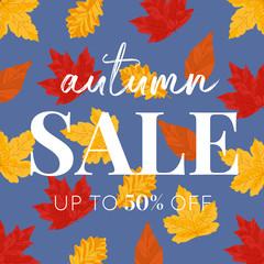 Autumn Leaves Vector Square Seasonal SALE Banner - Blue background