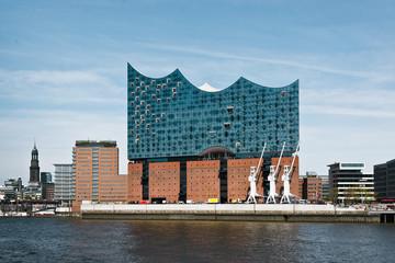 Papiers peints Opera, Theatre Blick auf die Elbphilarmonie und Hafencity im Hamburger Hafen