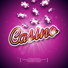 Vector illustration on a casino theme with color playing chips and shiny caption on dark violet background. Gambling design elements.