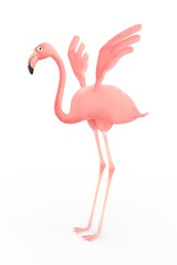 pink flamingo with open wings on white background