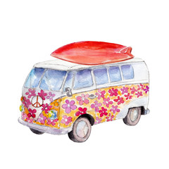 The hippie bus with surfboard, watercolor illustration isolated on white background.