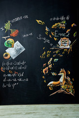 Back to school background with chalk board. Hand drawn lettering and school formulas, autumn leaves, an owl, a fox etc. New school year.