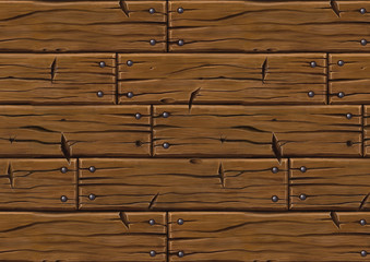 Hand Painted planks cartoon style seamless texture horizontal version