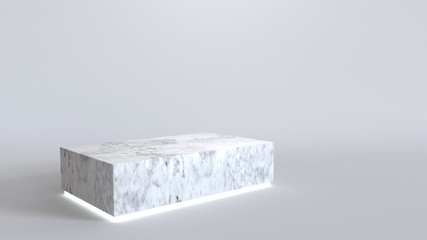 Empty marble podium with neon light glowing on white background. 3D rendering.