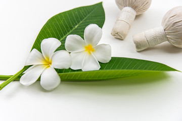 Thai Spa massage compress balls, herbal ball and treatment  spa, relax and healthy care with white flower, Thailand.  Healthy Concept. select focus.