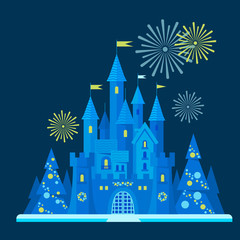 Snow-covered winter castle among the New Year's trees with a salute. Vector flat illustration.