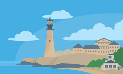 View on city and lighthouse. Vector flat illustration.