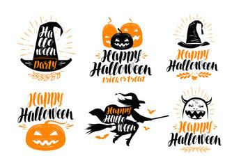 Halloween banner. Holiday, greeting card label or logo. Lettering vector illustration