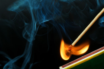 Striking a match and make a fire