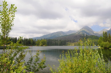 Tatra mountains landscape panorama with green grass and white clouds. Lake and water in foreground. Slovakia national park.