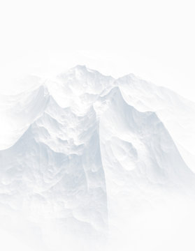White background with mountains. 3d illustration, 3d rendering.