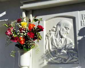 Marble tombstone in the cemetery, All Saints Day, Andalusia, Spain