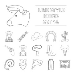 Rodeo set icons in outline style. Big collection of rodeo vector symbol stock illustration