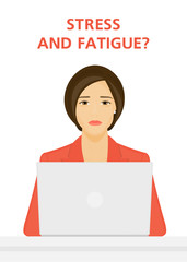 Sad woman sitting at the laptop. Boring job. Depression and fatigue. Vector illustration on white background