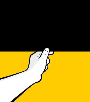Man hand closing blank blind