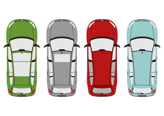 Papiers peints Cartoon voitures The plan view of the modern car. Flat vector.