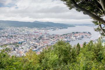 Panorama depuis le Mont Fløyen à Bergen, Norvège