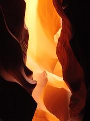Orange glow on sand stone