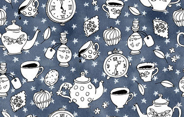 Watercolor illustration. Seamless pattern of stars, tea and clocks