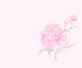 Beautiful soft color pink peony flowers. Continuous line drawing. Vector illustration