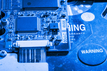 Close up of semiconductor Electronic Circuits in Technology on   Mainboard background (Main board,cpu motherboard,logic board,system board or mobo)