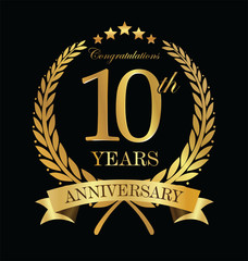 Anniversary golden laurel wreath 10 years