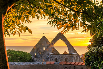 Summer sunset over Visby Old Town, Gotland, Sweden