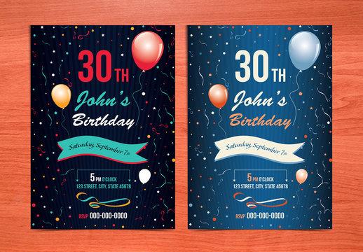 Birthday Card Layout with Balloon Illustrations 1