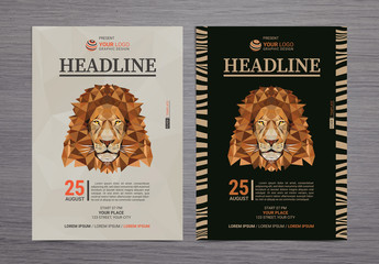 Flyer Layout with Lion Illustration 1