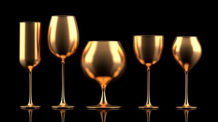 Glass for wine. 3d illustration, 3d rendering.