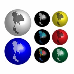 Thailand icons on Earth globe design concept.Vector globe icon 3d. Vector illustration dotted style.