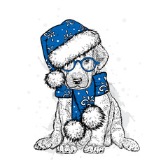 Cute puppy in a New Year hat and scarf. Vector illustration. Pedigree dog. Santa Claus. New Year's and Christmas.