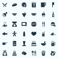 Vector Illustration Set Of Simple Preparation Icons. Elements Passion, Tea, Cutlery And Other Synonyms Chicken, Fork And Cake.