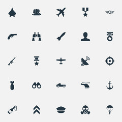 Vector Illustration Set Of Simple Battle Icons. Elements Projectile, Avatar, Telescope And Other Synonyms Paratrooper, Enemy And Mask.