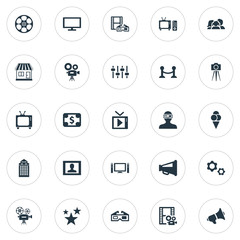 Vector Illustration Set Of Simple Film Icons. Elements Presenter, Home Cinema, Cinematography And Other Synonyms Television, Camera And Controller.