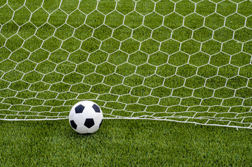 The soccer football with the net on the artificial green grass soccer field