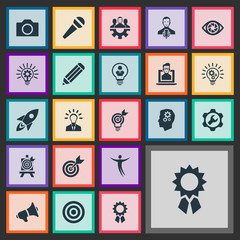 Vector Illustration Set Of Simple Visual Art Icons. Elements Bullhorn, Mentality, Performance And Other Synonyms Microphone, Discussion And Bullhorn.