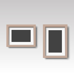 Brown wooden photo frame. Vector