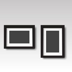 Black wooden photo frame. Vector