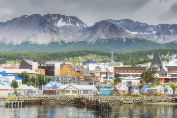 Ushuaia view from the boat. Tierra del Fuego province in Argentina. Patagonia.