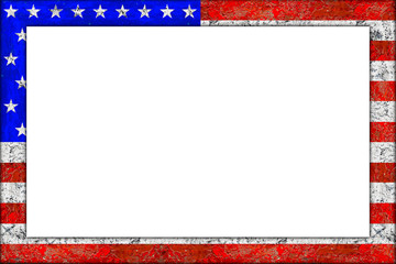 empty picture or blackboard wooden frame in usa flag design isolated on white background / Bilderrahmen Rahmen Vereinigte staaten von amerika flagge holz
